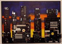 Stadt, Malerei, Sonnenuntergang, Computer
