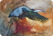 Aquarellmalerei, Kranich, Abflug, Miniatur
