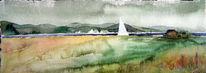 Aquarellmalerei, Ostsee, Rügen, Bodden