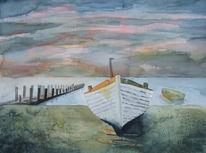 Aquarellmalerei, Abendlicht, Boot, Ostsee