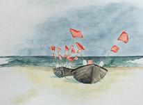 Ostsee, Boot, Rügen, Aquarellmalerei