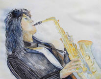 Saxofon, Schaukel, Aquarellmalerei, Jazz