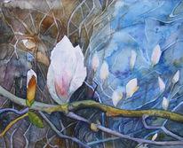 Blüte, Frühling, Magnolien, Aquarellmalerei