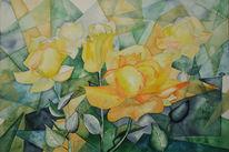 Blüte, Gelb, Rose, Aquarellmalerei