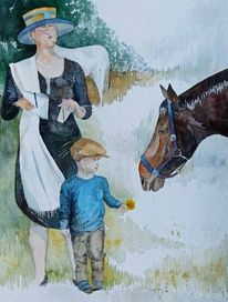 Menschen, Aquarellmalerei, Pferde, Pferderennen
