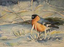 Dompfaff, Aquarellmalerei, Schnee, Winter aquarell