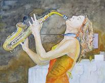 Saxofon, Jazz, Aquarellmalerei, Schaukel