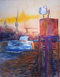 Möwe, Aquarellmalerei, Ostsee, Abend