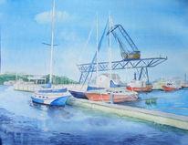 Aquarellmalerei, Kran, Hedgehalbinsel, Rostock