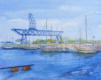 Stadthafen, Warnow, Aquarellmalerei, Rostock