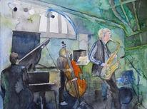 Musik, Saxofon, Jazz, Aquarellmalerei