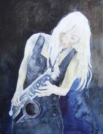 Musik, Saxofon, Schaukel, Jazz