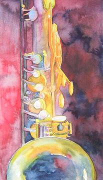 Musik, Jazz, Saxofon, Aquarellmalerei