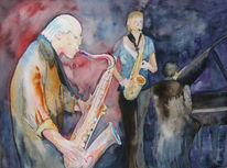 Aquarellmalerei, Saxofon, Jazz, Musik