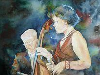 Aquarellmalerei, Jazz, Konzentration, Musik
