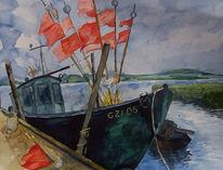Boot, Ostsee, Rücken, Aquarellmalerei