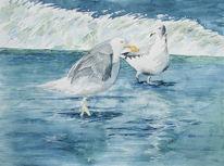 Aquarellmalerei, Ostsee, Möwe, Aquarell