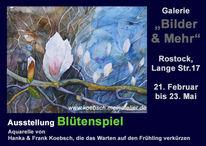 Aquarellmalerei, Blüte, Frühling, Ausstelung