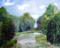 See, Park, Aquarellmalerei, Putbuss