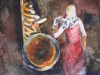 Saxofon, Jazz, Aquarellmalerei, Musik