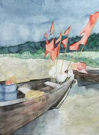 Ruhetag, Ostsee, Boot, Aquarellmalerei