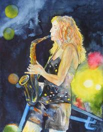 Aquarellmalerei, Musik, Jazz, Saxofon