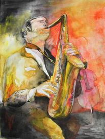 Musik, Jazz, Aquarellmalerei, Saxofon
