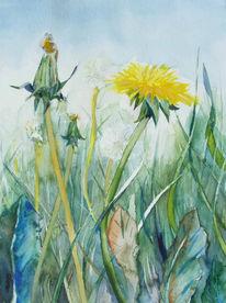 Sommer, Blüte, Wiese, Aquarellmalerei