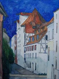 Speicher, Altstadt, Aquarellmalerei, Rostock