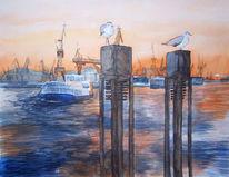 Ostsee, Hafen, Aquarellmalerei, Abendlicht