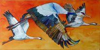 Aquarellmalerei, Kranich, Malerei, Ziel