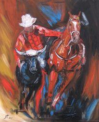 Malerei, Abstrakt, Cowboy