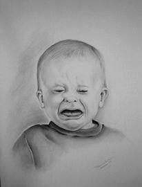 Kind, Zeichnung, Traurig, Portrait