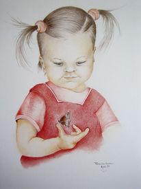 Kind, Portrait, Mädchen, Zeichnung