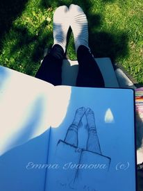 Skizze, Outdoor, Fuß, Menschen