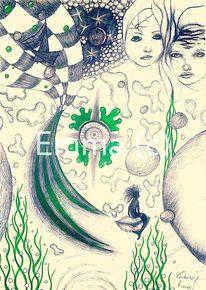Schwestern, Meerjungfrau, Gesicht, Kugel