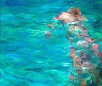 Schwimmer, Farbgehäcksel, Figural, Malerei