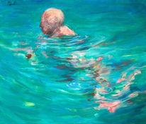 Figural, Malerei, Schwimmer, Wasser