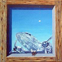 Flugzeug, Fliege, Malerei, Surreal