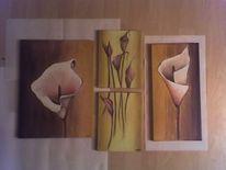 Malerei, Blumen, Braun, Stillleben