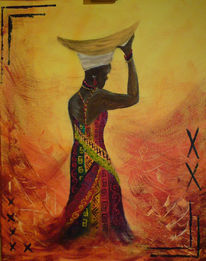 Afrikanerin, Perlen, Bunt, Frau