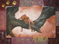 Afrika, Zeichnung, Skizze, Löwin