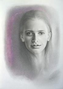 Portraitzeichnung in mischtechnik, Porträtmalerei, Portrait, Mischtechnik