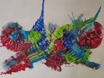 Malerei, Abstrakt, Gouachemalerei