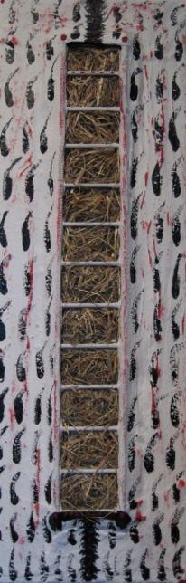 Holz, Stroh, Abstrakt, Gips