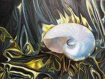 Gold, Nautilus, Faltenwurf, Malerei