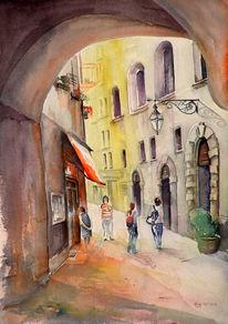 Malerei, Italien, Landschaft, Haus