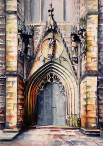 Kirche, Figur, Malerei, Landschaft