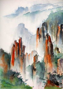 Wolken, Felsen, Berge, Aquarellmalerei