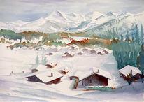 Winter, Hütte, Malerei, Alpen